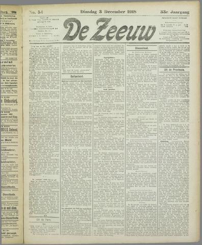 De Zeeuw. Christelijk-historisch nieuwsblad voor Zeeland 1918-12-03
