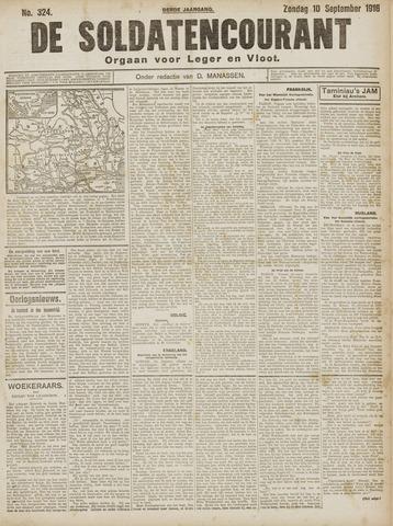 De Soldatencourant. Orgaan voor Leger en Vloot 1916-09-10