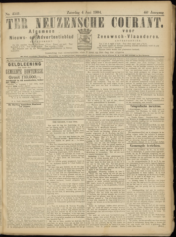 Ter Neuzensche Courant. Algemeen Nieuws- en Advertentieblad voor Zeeuwsch-Vlaanderen / Neuzensche Courant ... (idem) / (Algemeen) nieuws en advertentieblad voor Zeeuwsch-Vlaanderen 1904-06-04