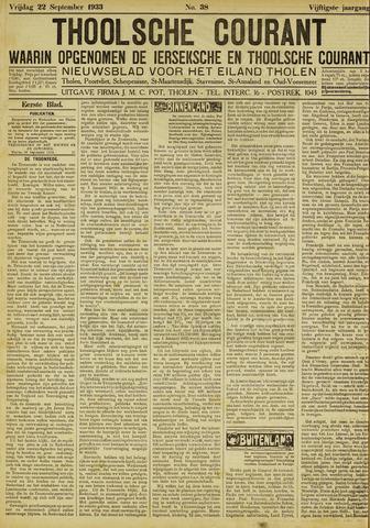 Ierseksche en Thoolsche Courant 1933-09-22