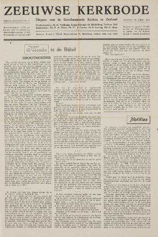Zeeuwsche kerkbode, weekblad gewijd aan de belangen der gereformeerde kerken/ Zeeuwsch kerkblad 1949-04-29