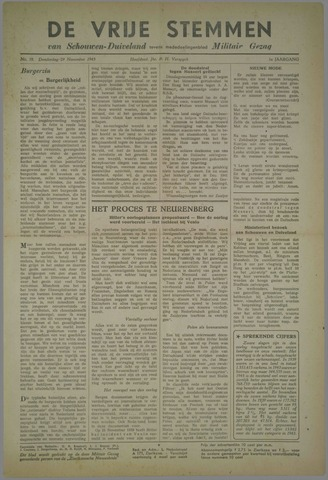 Vrije Stemmen van Schouwen-Duiveland, tevens mededeelingenblad Militair Gezag 1945-11-29