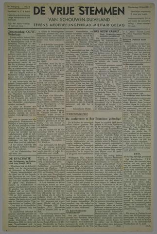 Vrije Stemmen van Schouwen-Duiveland, tevens mededeelingenblad Militair Gezag 1945-06-28