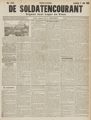 De Soldatencourant. Orgaan voor Leger en Vloot 1916-07-02