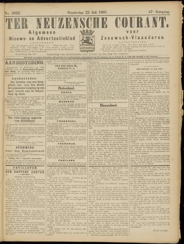 Ter Neuzensche Courant. Algemeen Nieuws- en Advertentieblad voor Zeeuwsch-Vlaanderen / Neuzensche Courant ... (idem) / (Algemeen) nieuws en advertentieblad voor Zeeuwsch-Vlaanderen 1907-07-25