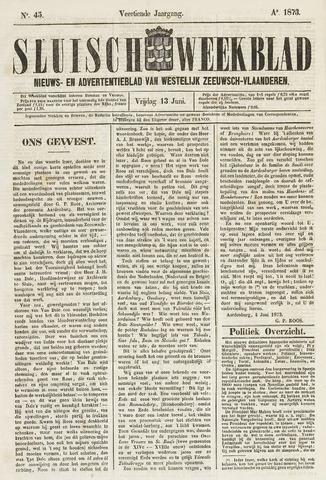 Sluisch Weekblad. Nieuws- en advertentieblad voor Westelijk Zeeuwsch-Vlaanderen 1873-06-13