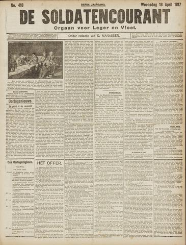 De Soldatencourant. Orgaan voor Leger en Vloot 1917-04-18