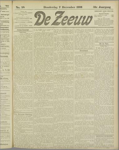 De Zeeuw. Christelijk-historisch nieuwsblad voor Zeeland 1916-12-07