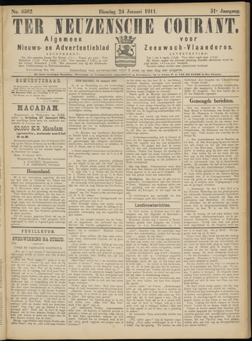 Ter Neuzensche Courant. Algemeen Nieuws- en Advertentieblad voor Zeeuwsch-Vlaanderen / Neuzensche Courant ... (idem) / (Algemeen) nieuws en advertentieblad voor Zeeuwsch-Vlaanderen 1911-01-24