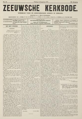 Zeeuwsche kerkbode, weekblad gewijd aan de belangen der gereformeerde kerken/ Zeeuwsch kerkblad 1935-08-16