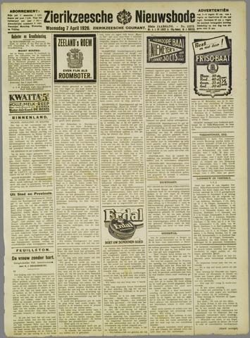 Zierikzeesche Nieuwsbode 1926-04-07