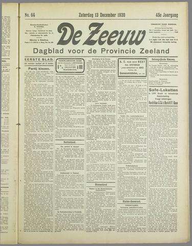 De Zeeuw. Christelijk-historisch nieuwsblad voor Zeeland 1930-12-13