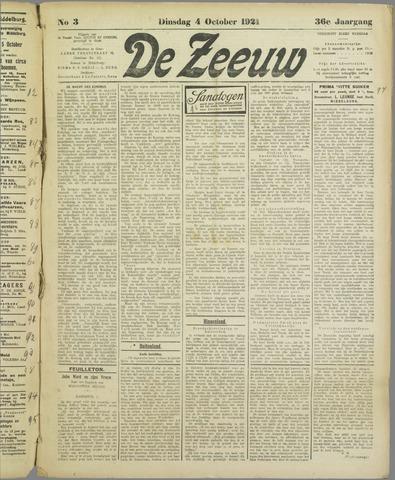 De Zeeuw. Christelijk-historisch nieuwsblad voor Zeeland 1921-10-04