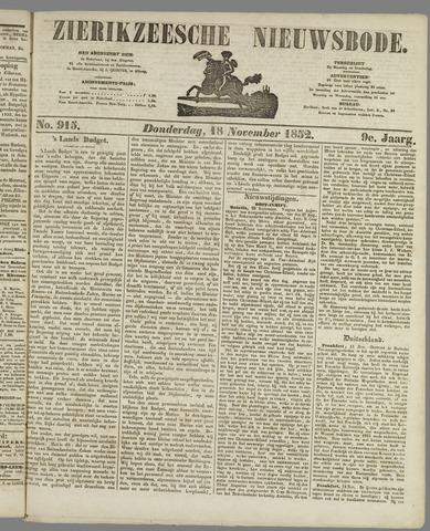 Zierikzeesche Nieuwsbode 1852-11-18