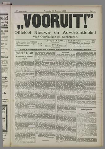 """""""Vooruit!""""Officieel Nieuws- en Advertentieblad voor Overflakkee en Goedereede 1913-02-19"""
