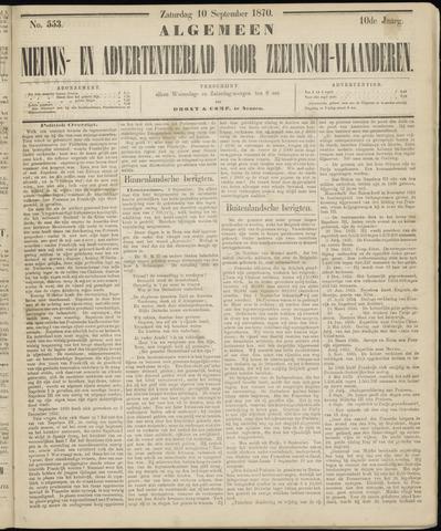 Ter Neuzensche Courant. Algemeen Nieuws- en Advertentieblad voor Zeeuwsch-Vlaanderen / Neuzensche Courant ... (idem) / (Algemeen) nieuws en advertentieblad voor Zeeuwsch-Vlaanderen 1870-09-10