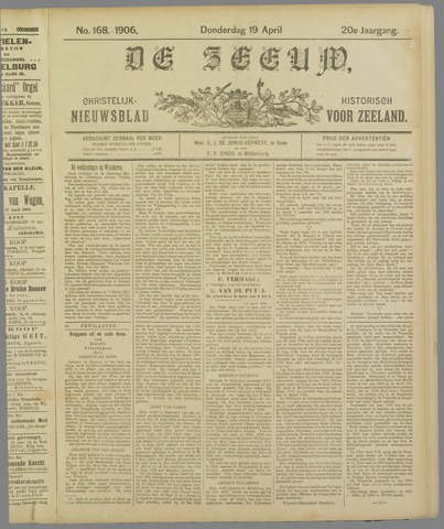 De Zeeuw. Christelijk-historisch nieuwsblad voor Zeeland 1906-04-19