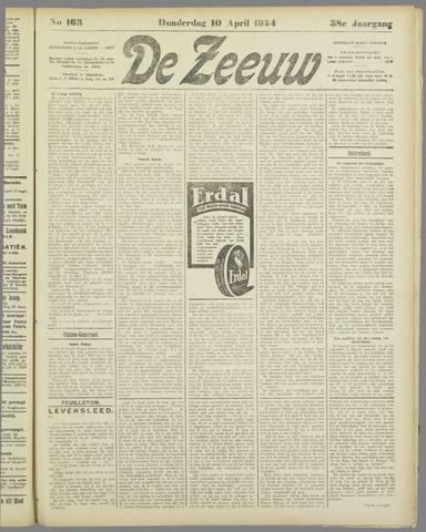 De Zeeuw. Christelijk-historisch nieuwsblad voor Zeeland 1924-04-10