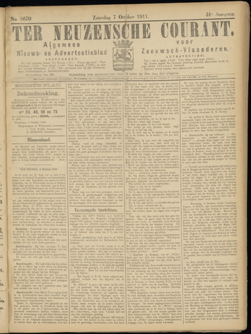Ter Neuzensche Courant. Algemeen Nieuws- en Advertentieblad voor Zeeuwsch-Vlaanderen / Neuzensche Courant ... (idem) / (Algemeen) nieuws en advertentieblad voor Zeeuwsch-Vlaanderen 1911-10-07