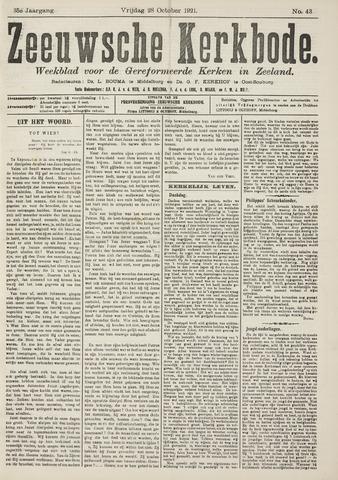 Zeeuwsche kerkbode, weekblad gewijd aan de belangen der gereformeerde kerken/ Zeeuwsch kerkblad 1921-10-28