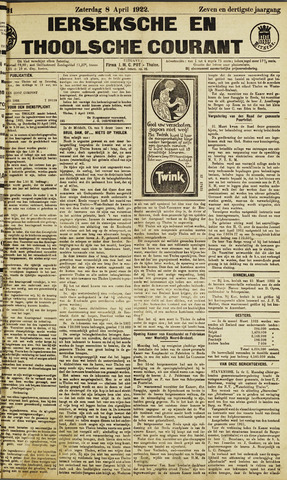 Ierseksche en Thoolsche Courant 1922-04-08