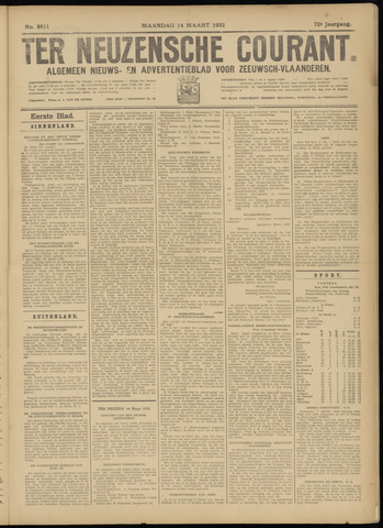 Ter Neuzensche Courant. Algemeen Nieuws- en Advertentieblad voor Zeeuwsch-Vlaanderen / Neuzensche Courant ... (idem) / (Algemeen) nieuws en advertentieblad voor Zeeuwsch-Vlaanderen 1932-03-14