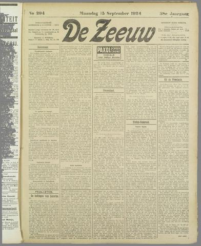 De Zeeuw. Christelijk-historisch nieuwsblad voor Zeeland 1924-09-15