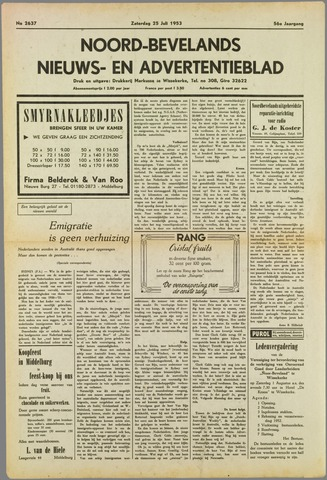 Noord-Bevelands Nieuws- en advertentieblad 1953-07-25