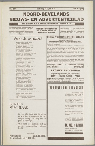 Noord-Bevelands Nieuws- en advertentieblad 1940-04-13