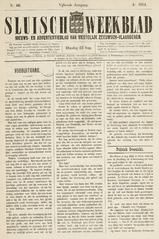 Sluisch Weekblad. Nieuws- en advertentieblad voor Westelijk Zeeuwsch-Vlaanderen 1874-08-25
