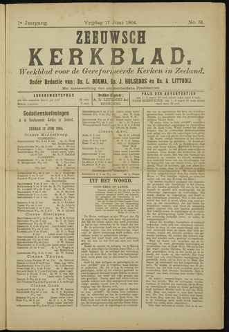 Zeeuwsche kerkbode, weekblad gewijd aan de belangen der gereformeerde kerken/ Zeeuwsch kerkblad 1904-06-17