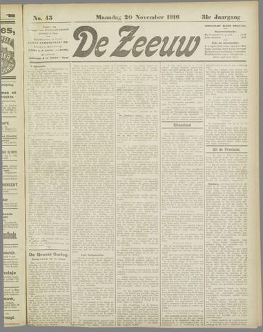 De Zeeuw. Christelijk-historisch nieuwsblad voor Zeeland 1916-11-20