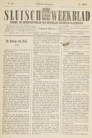 Sluisch Weekblad. Nieuws- en advertentieblad voor Westelijk Zeeuwsch-Vlaanderen 1874-11-06