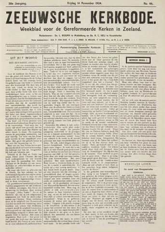 Zeeuwsche kerkbode, weekblad gewijd aan de belangen der gereformeerde kerken/ Zeeuwsch kerkblad 1924-11-14
