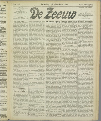 De Zeeuw. Christelijk-historisch nieuwsblad voor Zeeland 1918-10-29