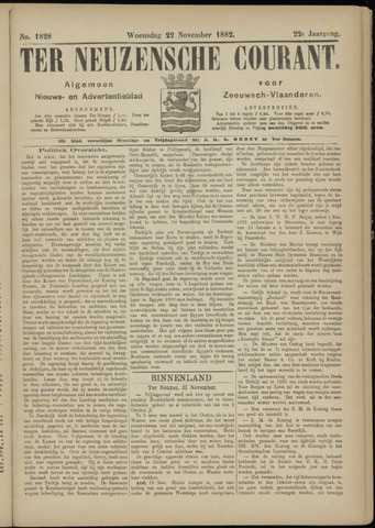 Ter Neuzensche Courant. Algemeen Nieuws- en Advertentieblad voor Zeeuwsch-Vlaanderen / Neuzensche Courant ... (idem) / (Algemeen) nieuws en advertentieblad voor Zeeuwsch-Vlaanderen 1882-11-22