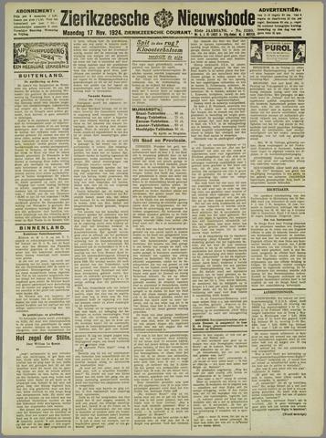 Zierikzeesche Nieuwsbode 1924-11-17