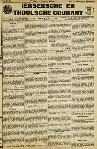 Ierseksche en Thoolsche Courant 1925-10-02