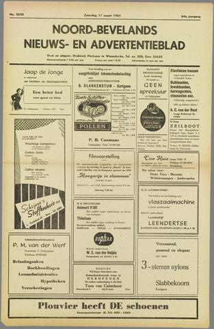Noord-Bevelands Nieuws- en advertentieblad 1961-03-11