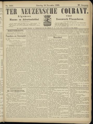 Ter Neuzensche Courant. Algemeen Nieuws- en Advertentieblad voor Zeeuwsch-Vlaanderen / Neuzensche Courant ... (idem) / (Algemeen) nieuws en advertentieblad voor Zeeuwsch-Vlaanderen 1888-11-10
