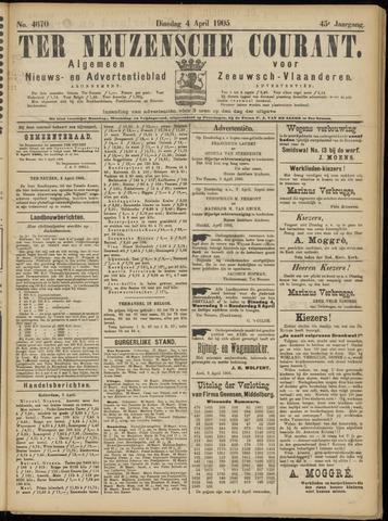 Ter Neuzensche Courant. Algemeen Nieuws- en Advertentieblad voor Zeeuwsch-Vlaanderen / Neuzensche Courant ... (idem) / (Algemeen) nieuws en advertentieblad voor Zeeuwsch-Vlaanderen 1905-04-04