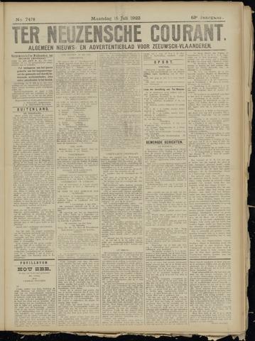 Ter Neuzensche Courant. Algemeen Nieuws- en Advertentieblad voor Zeeuwsch-Vlaanderen / Neuzensche Courant ... (idem) / (Algemeen) nieuws en advertentieblad voor Zeeuwsch-Vlaanderen 1923-07-16