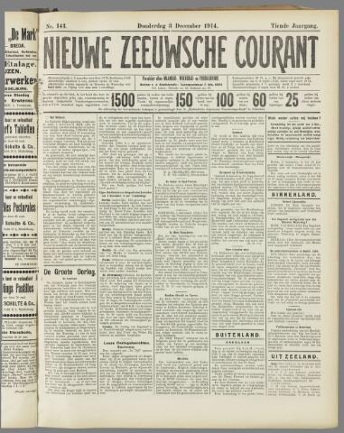 Nieuwe Zeeuwsche Courant 1914-12-03