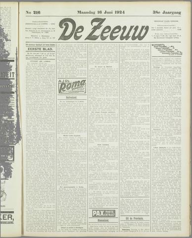 De Zeeuw. Christelijk-historisch nieuwsblad voor Zeeland 1924-06-16