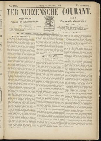 Ter Neuzensche Courant. Algemeen Nieuws- en Advertentieblad voor Zeeuwsch-Vlaanderen / Neuzensche Courant ... (idem) / (Algemeen) nieuws en advertentieblad voor Zeeuwsch-Vlaanderen 1878-10-12