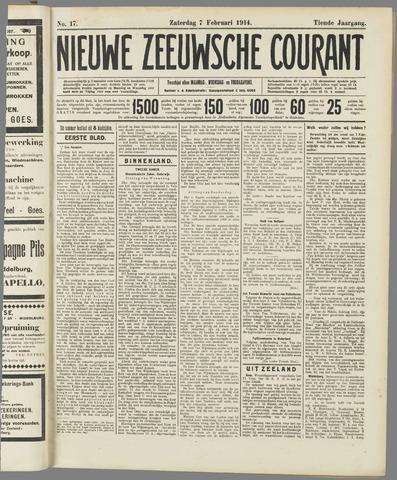 Nieuwe Zeeuwsche Courant 1914-02-07