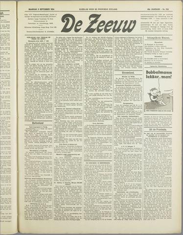 De Zeeuw. Christelijk-historisch nieuwsblad voor Zeeland 1934-09-03