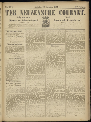 Ter Neuzensche Courant. Algemeen Nieuws- en Advertentieblad voor Zeeuwsch-Vlaanderen / Neuzensche Courant ... (idem) / (Algemeen) nieuws en advertentieblad voor Zeeuwsch-Vlaanderen 1894-11-10