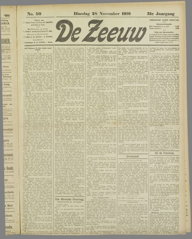 De Zeeuw. Christelijk-historisch nieuwsblad voor Zeeland 1916-11-28