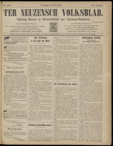 Ter Neuzensch Volksblad. Vrijzinnig nieuws- en advertentieblad voor Zeeuwsch- Vlaanderen / Zeeuwsch Nieuwsblad. Nieuws- en advertentieblad voor Zeeland 1917-03-28